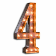 Rusty 24 Inch Number 4 Marquee Light