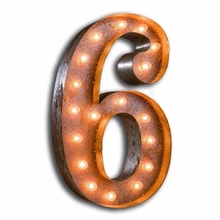 Rusty 24 Inch Number 6 Marquee Light