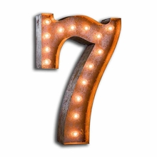 Rusty 24 Inch Number 7 Marquee Light