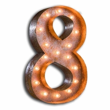 Rusty 24 Inch Number 8 Marquee Light