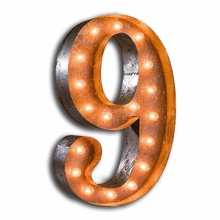 Rusty 24 Inch Number 9 Marquee Light