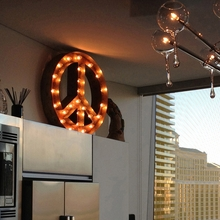 Rusty 24 Inch Peace Sign Marquee Light