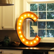 Rusty 36 Inch Letter C Marquee Light