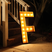 Rusty 36 Inch Letter F Marquee Light