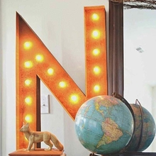 Rusty 36 Inch Letter N Marquee Light