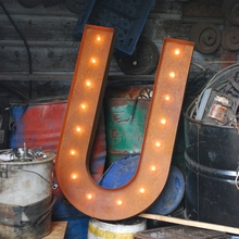 Rusty 36 Inch Letter U Marquee Light