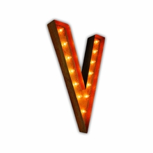 Rusty 36 Inch Letter V Marquee Light