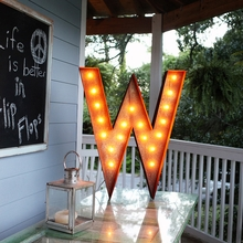 Rusty 36 Inch Letter W Marquee Light