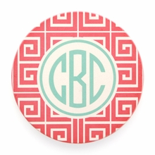 Salmon Greek Key Monogram Coaster Set