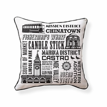 San Francisco Neighborhoods Reversible Throw Pillow