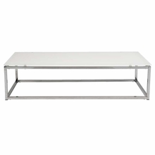 Sandor Coffee Table in Pure White Glass and Chrome