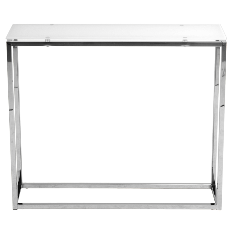 Sandor Console Table In Pure White Glass And Chrome