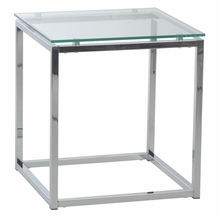 Sandor Side Table in Clear Glass and Chrome