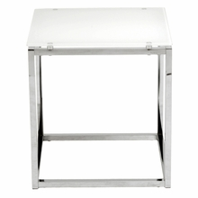 Sandor Side Table in Pure White Glass and Chrome