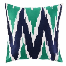 Sarah Embroidered Pillow in Blue and Green