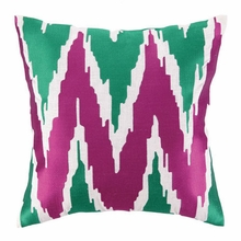 Sarah Embroidered Pillow in Pink and Green