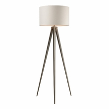 Satin Nickel Floor Lamp With Off-White Linen Shade