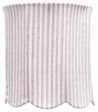 Scallop Drum Medium Lamp Shade in Pink and White Stripe