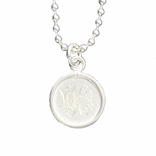 Silver Circle Engraved Monogram Pendant Necklace