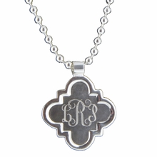 Silver Clover Quatrefoil Engraved Monogram Pendant Necklace