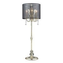 Silver Leaf Tall Buffet Lamp With Black Organza Shade