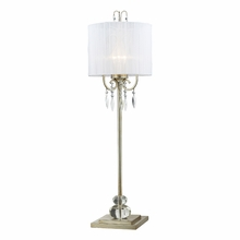 Silver Leaf Tall Buffet Lamp With White Shade
