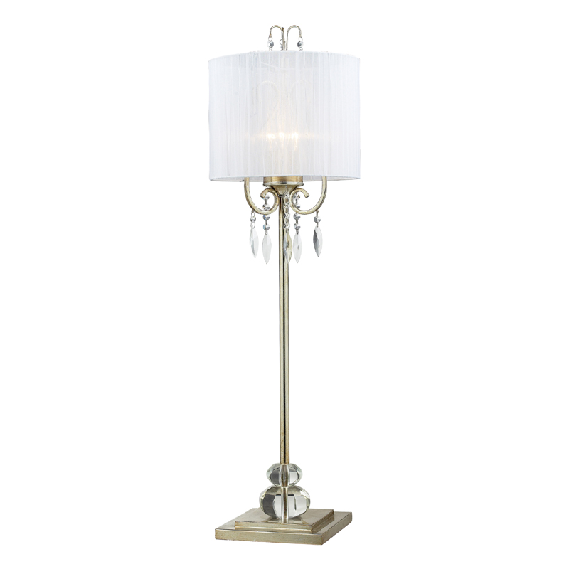district17 silver leaf tall buffet lamp with white shade. Black Bedroom Furniture Sets. Home Design Ideas