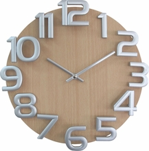 Silver Numbers Wooden Wall Clock