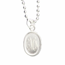 Silver Oval Engraved Monogram Pendant Necklace