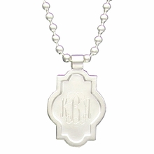 Silver Rectangle Quatrefoil Engraved Monogram Pendant Necklace