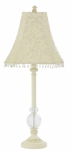 Single Glass Ball Lamp Base in Ivory with Ivory Starburst Shade