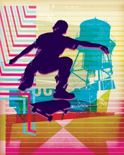 Skate Heist Neon Canvas Wall Art