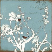 Sky Bird and Branch II Silhouette Canvas Wall Art