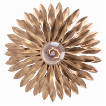 Small Broche Antique Gold Semi-Flush Mount