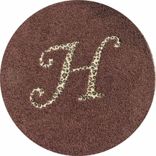 Solid Round Rug with Animal Print Monogram