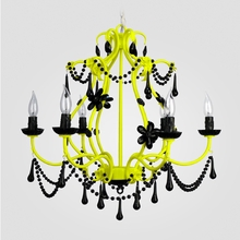 Sonja Neon Yellow Black Crystal Chandelier