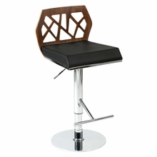 Sophia Bar and Counter Stool in Walnut and Black and Chrome