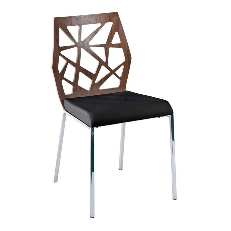 District17 Sophia fice Chair in Walnut and Black Fabric