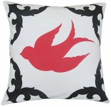 Sparrow Black and Coral Left Throw Pillow