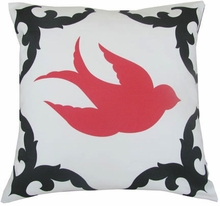 Sparrow Black and Coral Right Throw Pillow