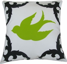 Sparrow Black and Lime Left Throw Pillow