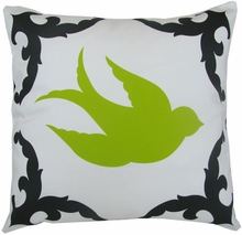 Sparrow Black and Lime Right Throw Pillow