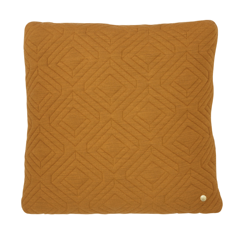 District17: Square Quilt Cushion Throw Pillow in Curry ...