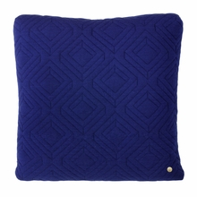 Square Quilt Cushion Throw Pillow in Dark Blue