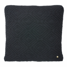 Square Quilt Cushion Throw Pillow in Dark Grey
