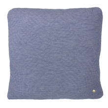 Square Quilt Cushion Throw Pillow in Light Blue