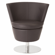 Squire Swivel Chair in Dark Brown Leatherette and Stainless Steel