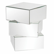 Stacked Contemporary Mirrored End Table