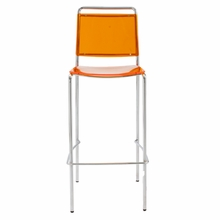 Stefie B Pro Bar Chair in Orange and Chrome - Set of 2