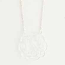 Sterling Silver and Clear Medium Flourish Monogram Acrylic Necklace